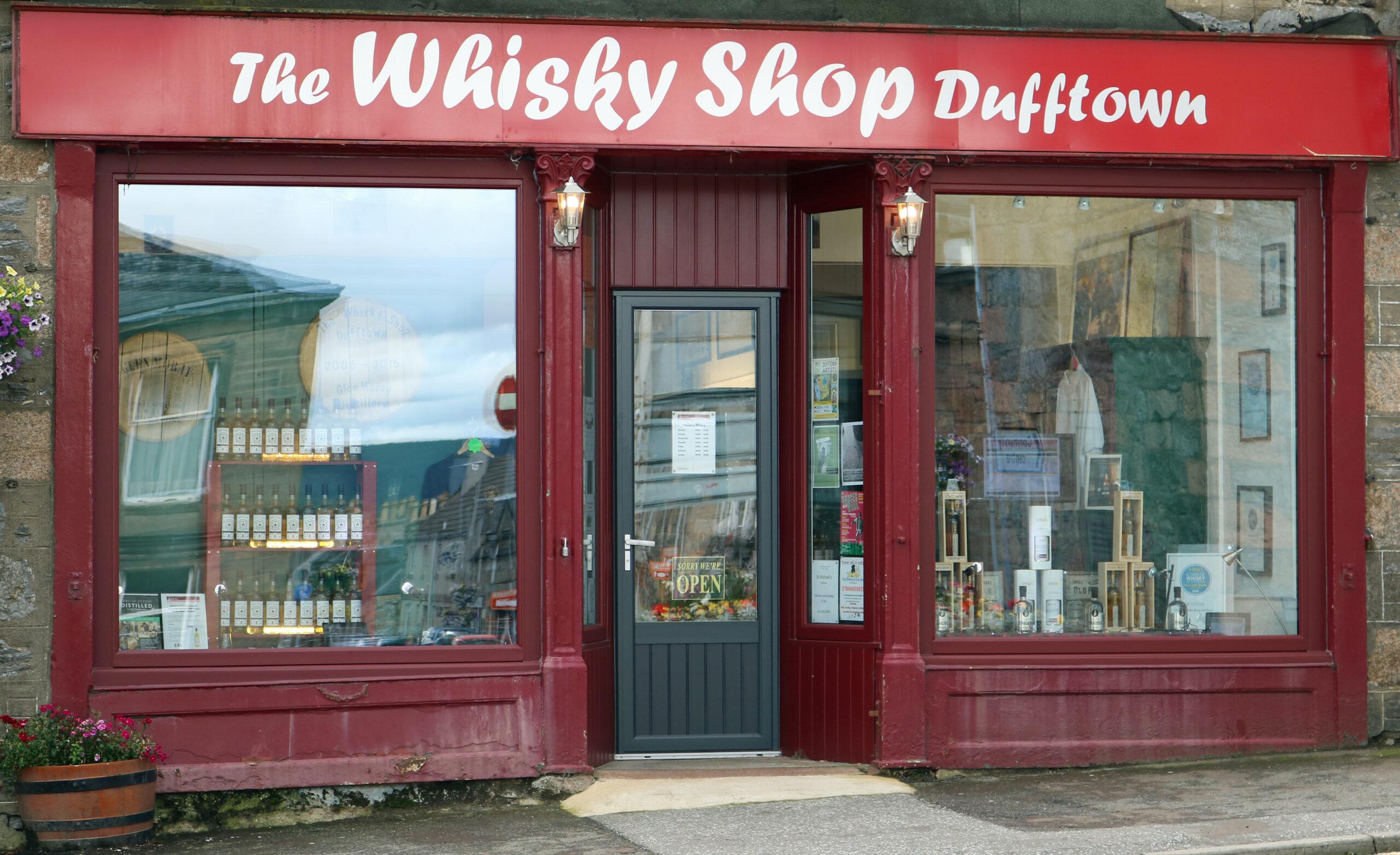 outside the Whisky Shop Dufftown