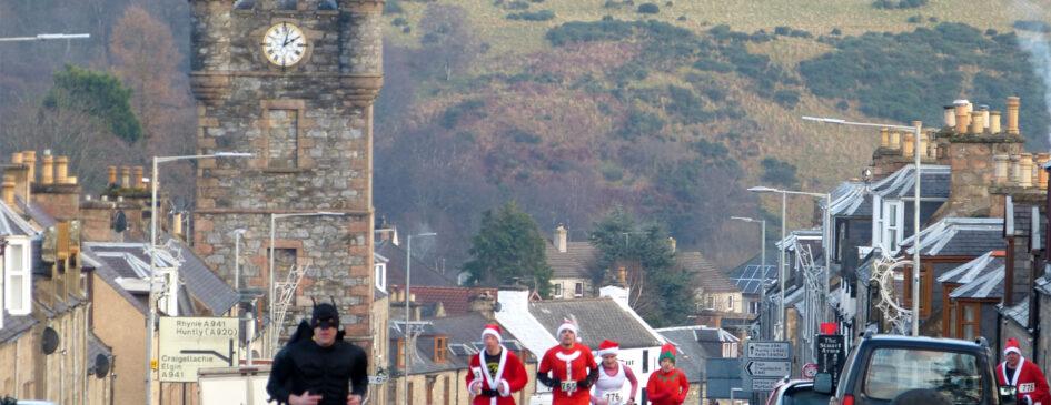 Dufftown Santa Run and Clock Tower in Background